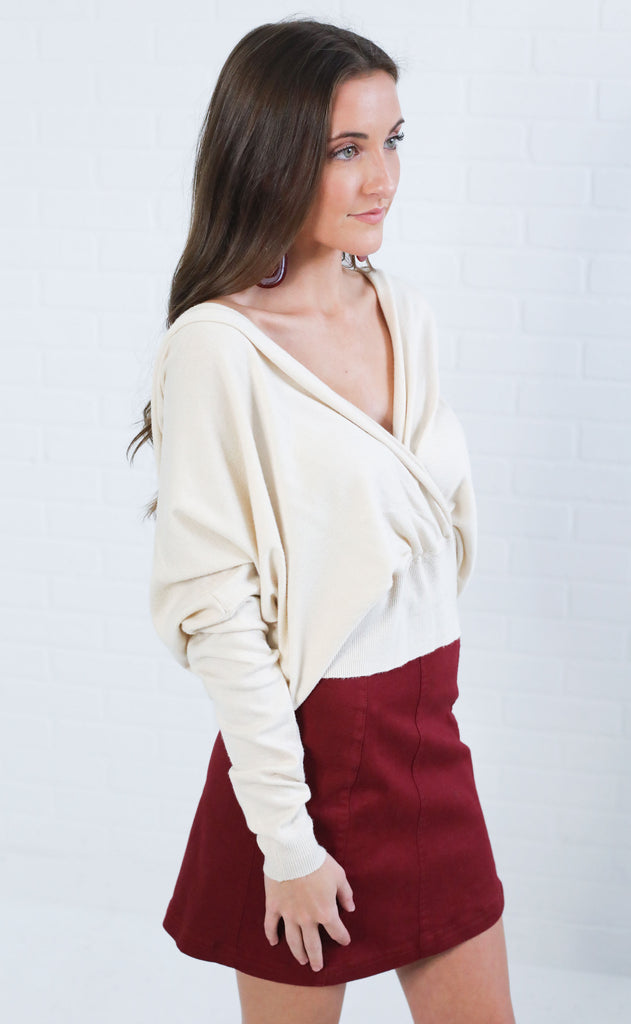 lovely lady surplice sweater - ivory