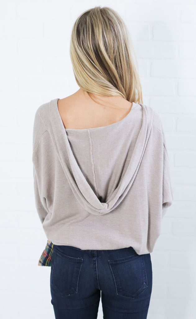 lovely lady surplice sweater - taupe