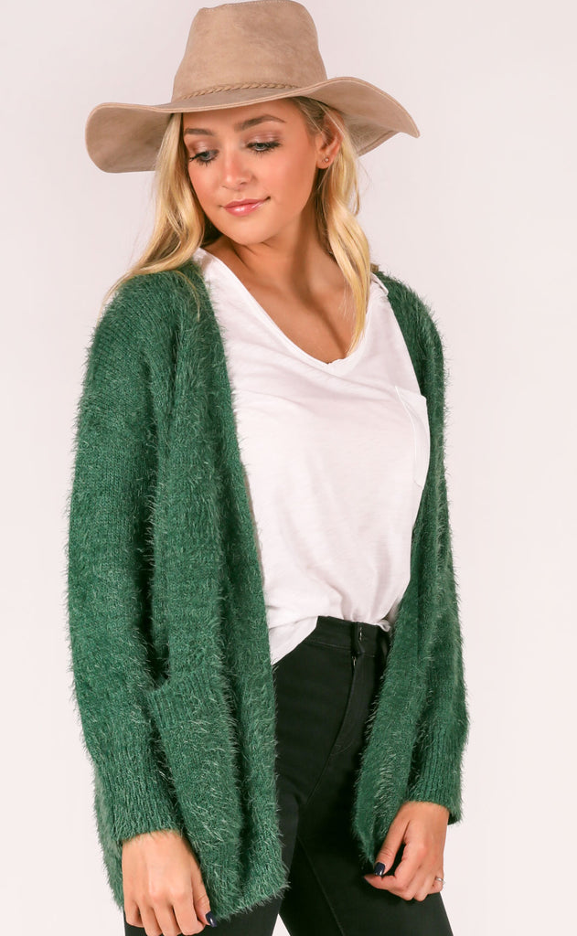 lucca: oliver long cardigan - forest green