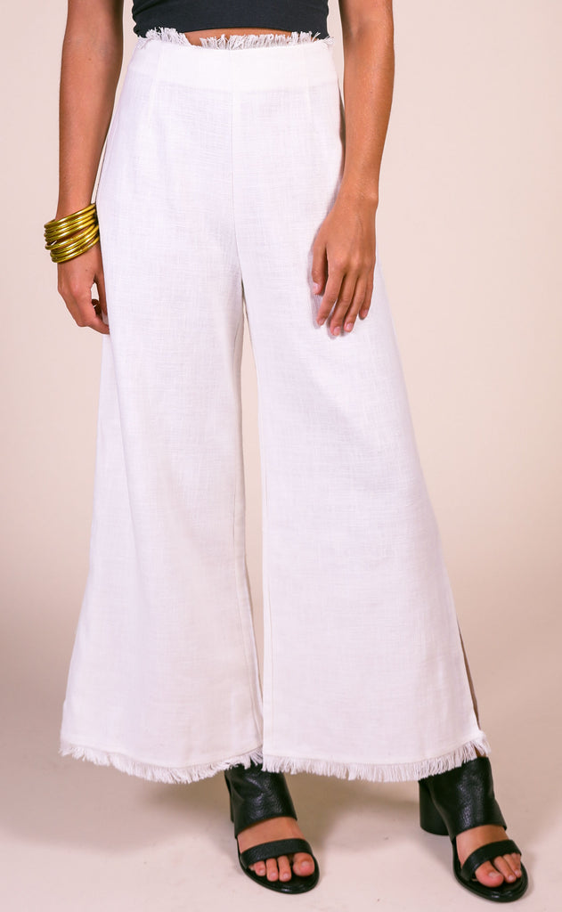 lucca: melissa fringed wide leg pants