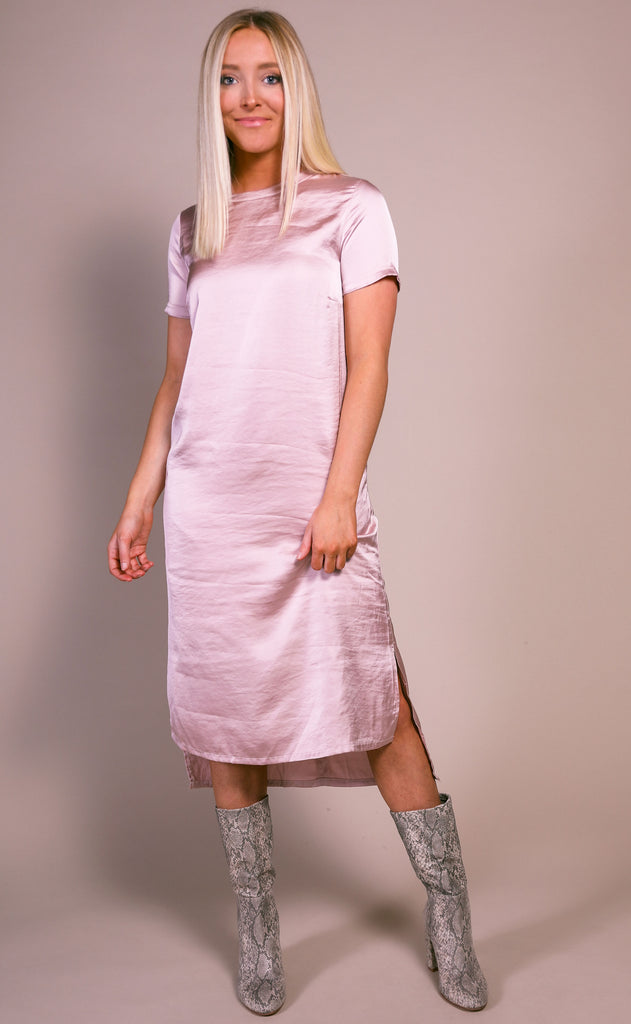 lucky day basic dress - blush