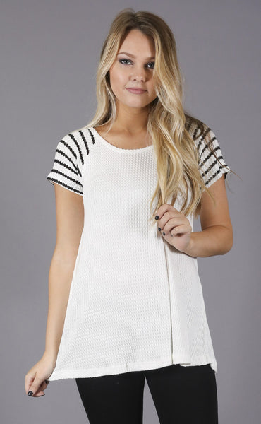 lucky stripe waffle knit top