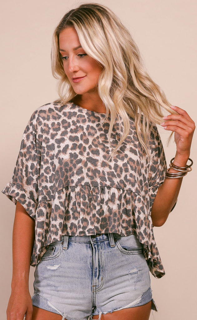 lucky leopard babydoll top