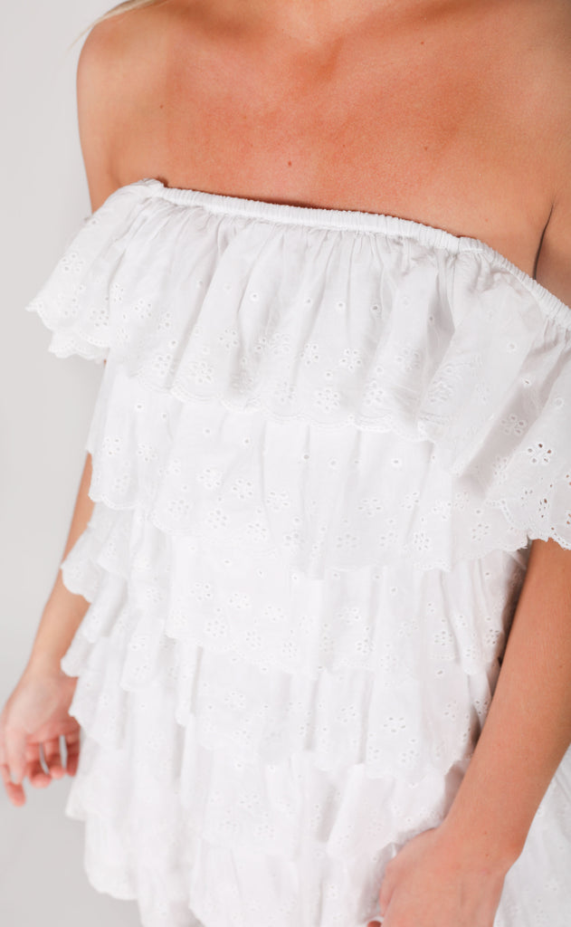 show me your mumu: lucy mini dress - white eyelet