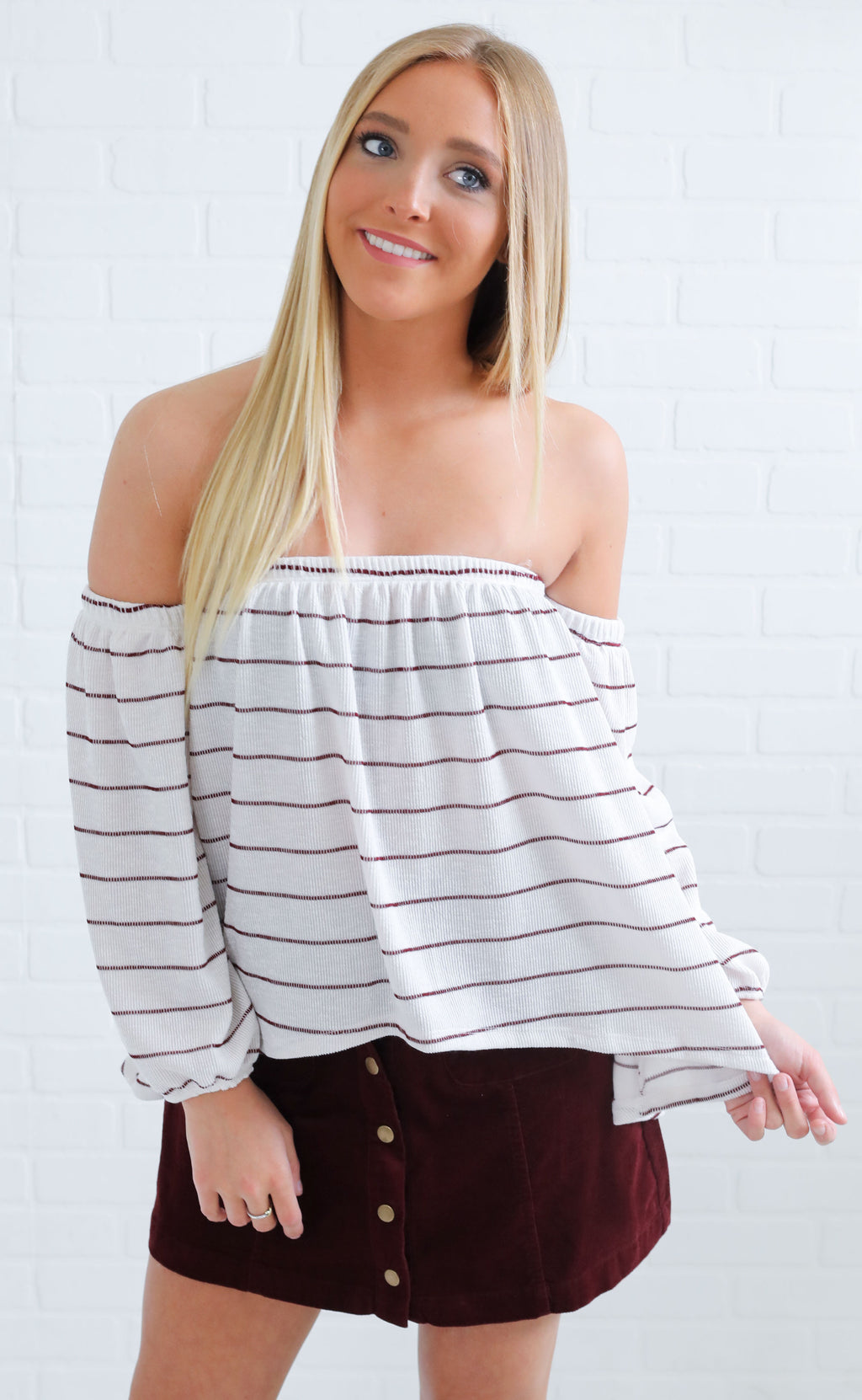 lunch date striped top