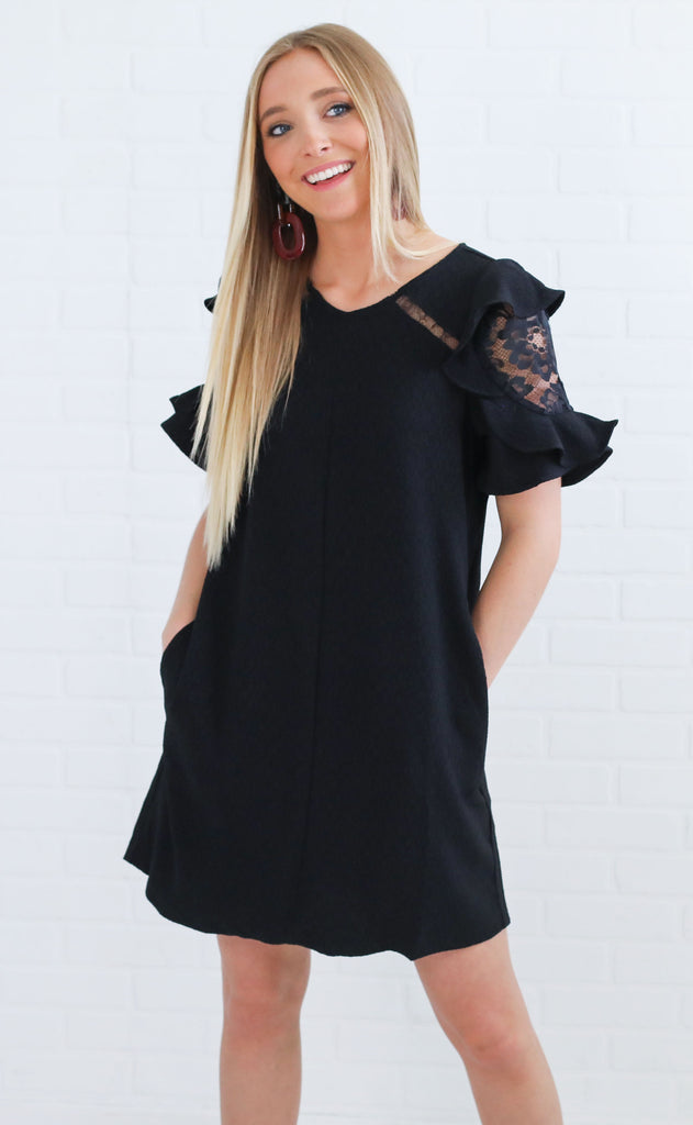 lust for lace shift dress - black