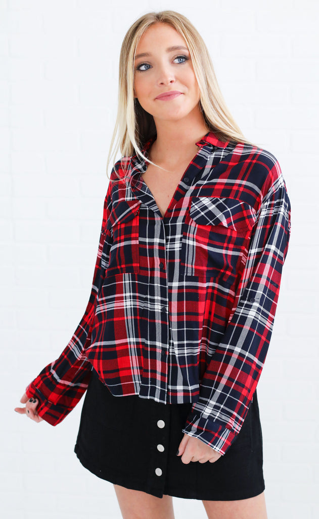 mad for plaid button up top