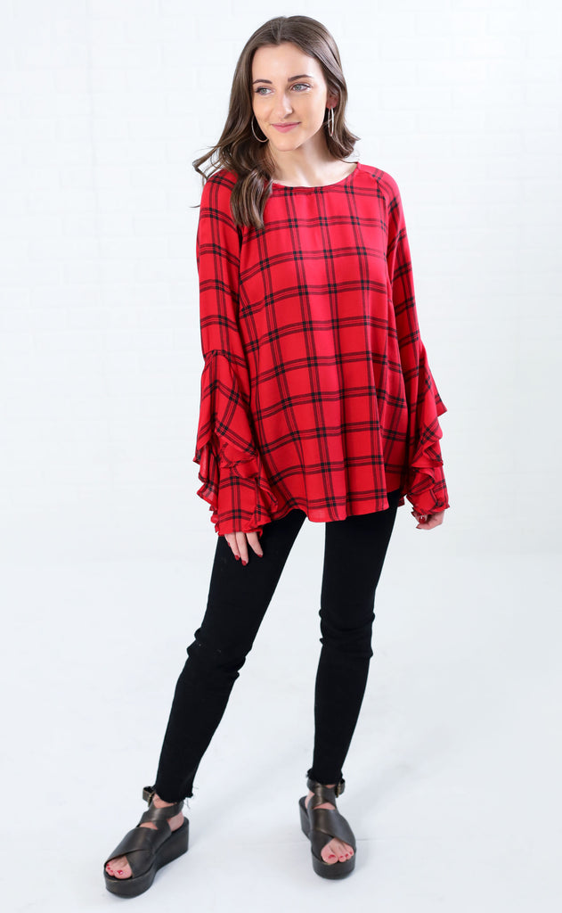 mad for plaid ruffle top