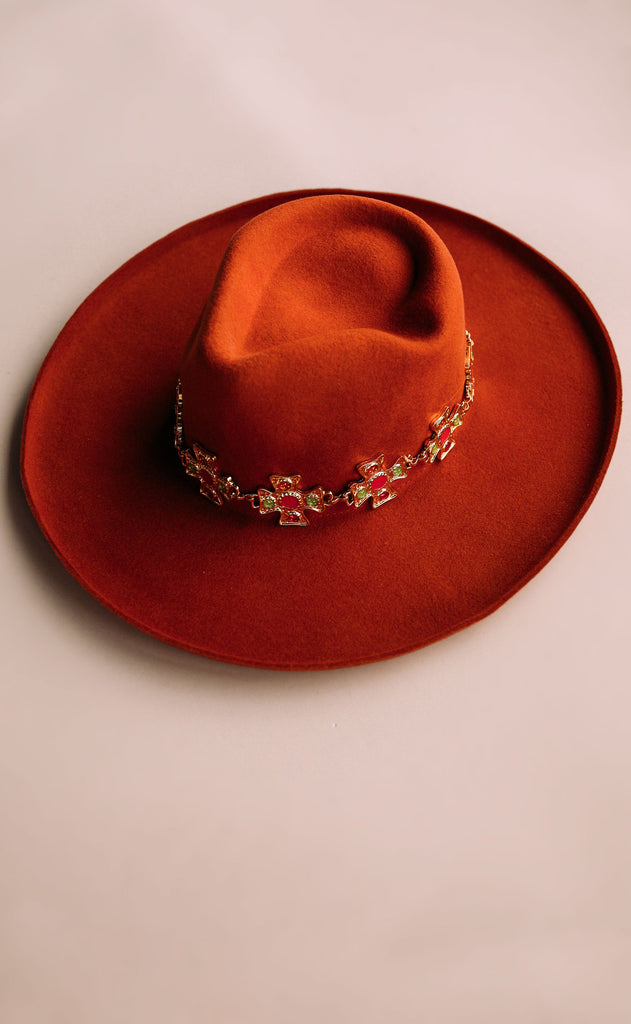 eastnwestlabel: madonna chain hat - rust