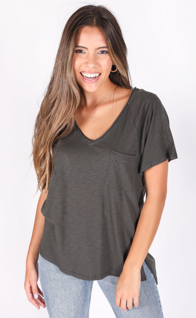 main squeeze pocket tee - charcoal