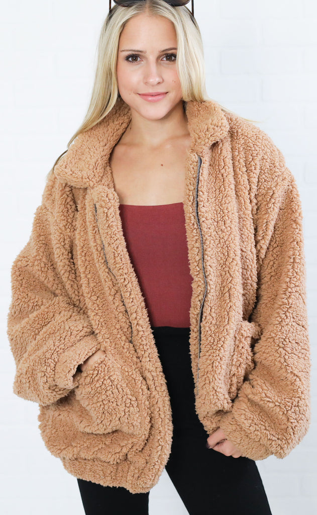 main squeeze sherpa jacket - tan