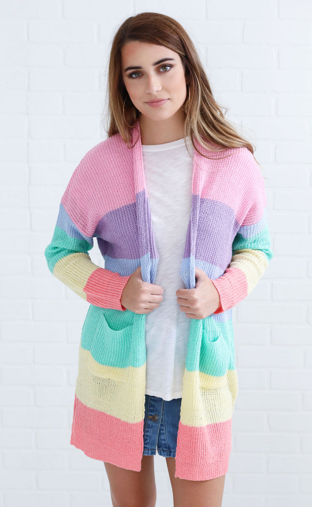 make it rainbow knit cardigan