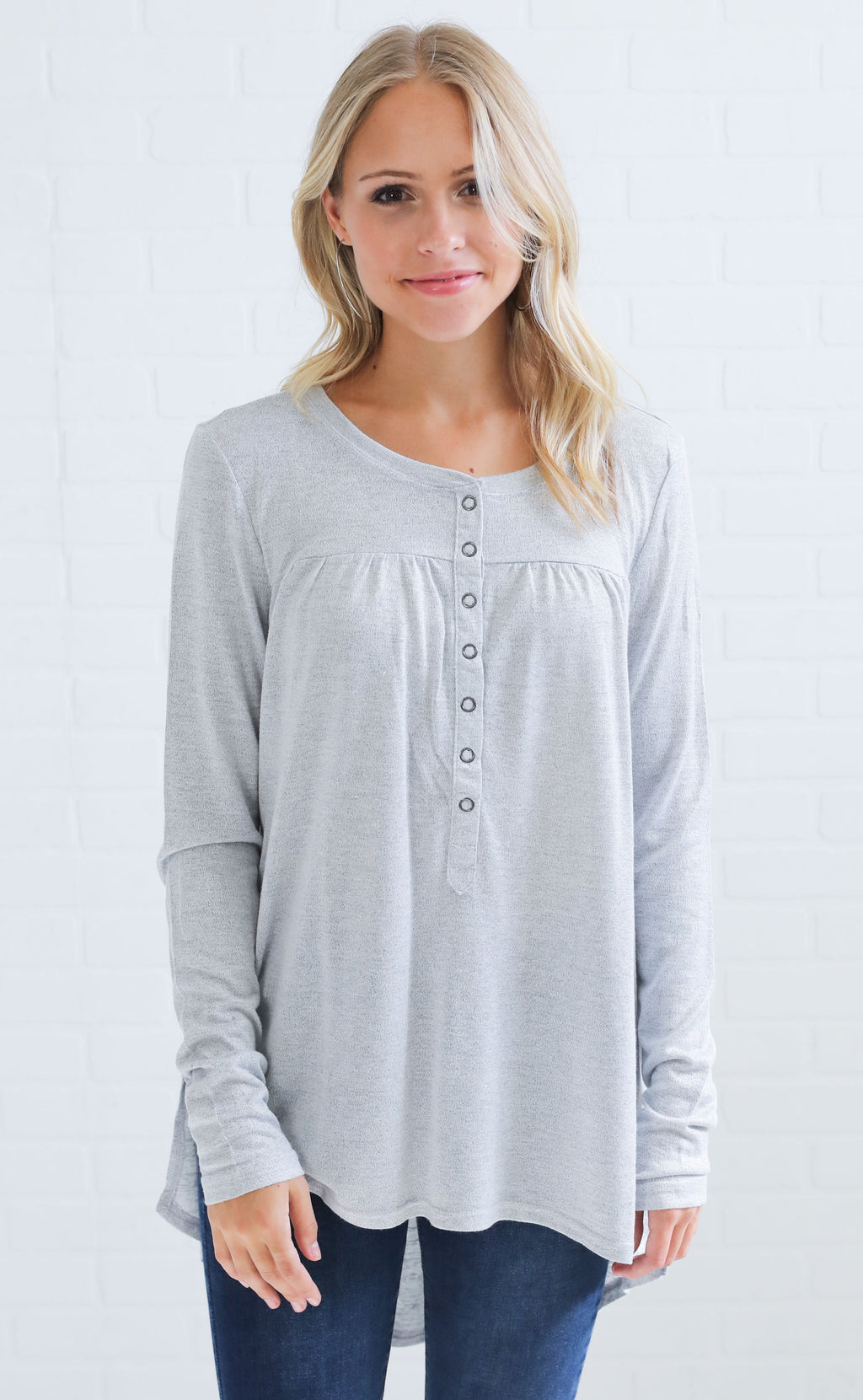 make it snappy button up top - grey