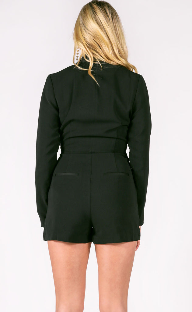 make the cut long sleeve romper - black