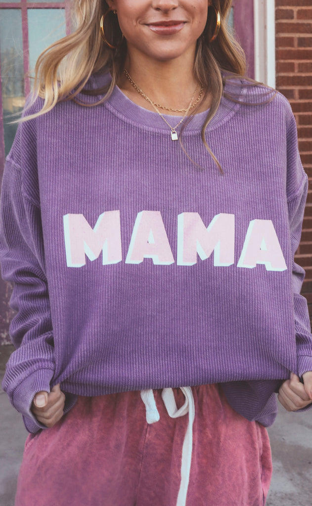 friday + saturday: mama corded sweatshirt - purple
