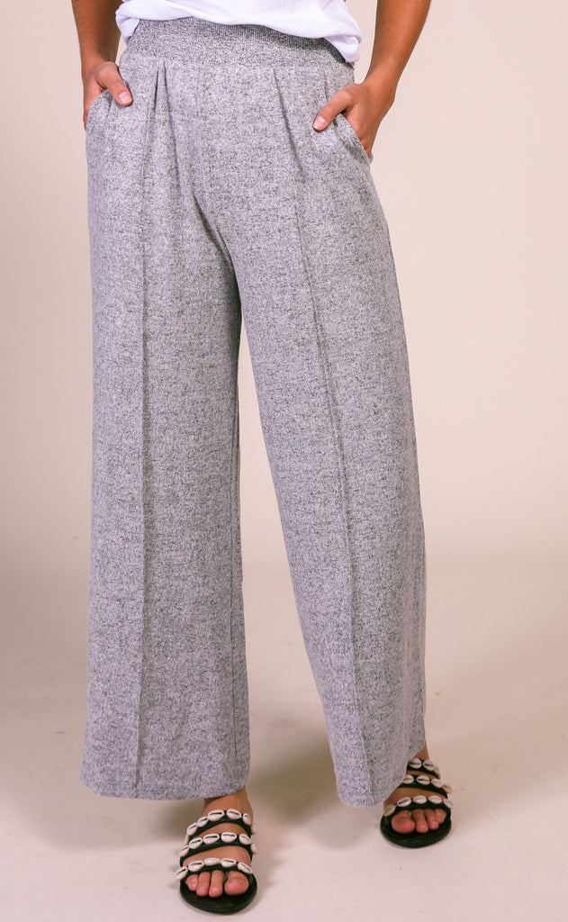 z supply: the marled wide leg pant - heather grey