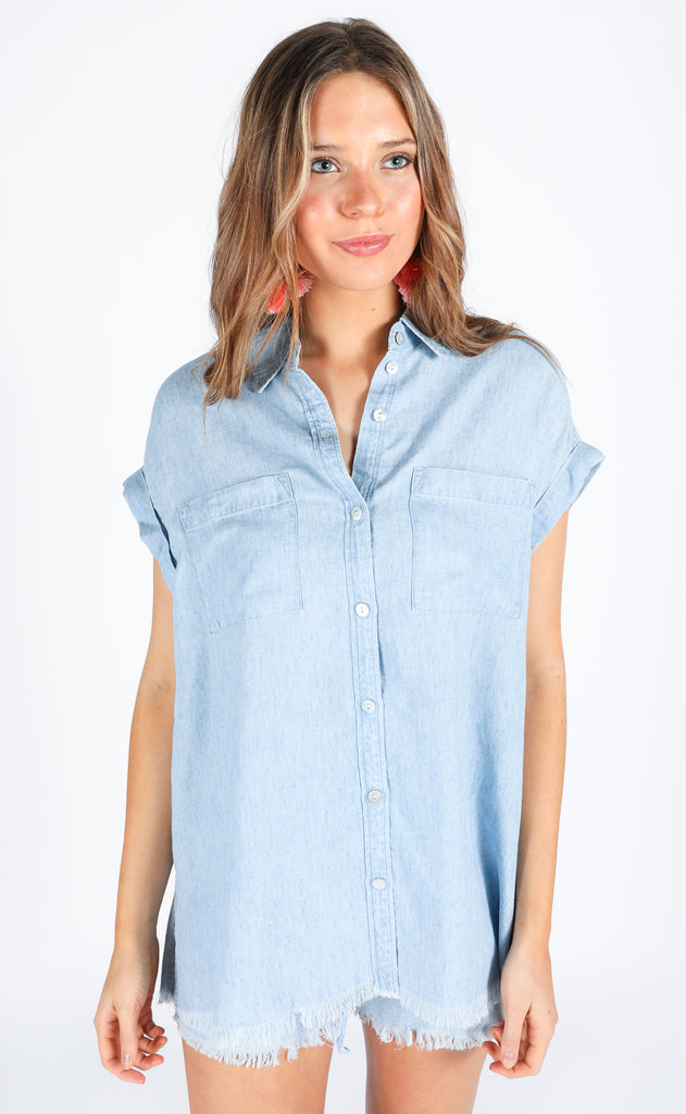 show me your mumu: martin shirt - light chambray