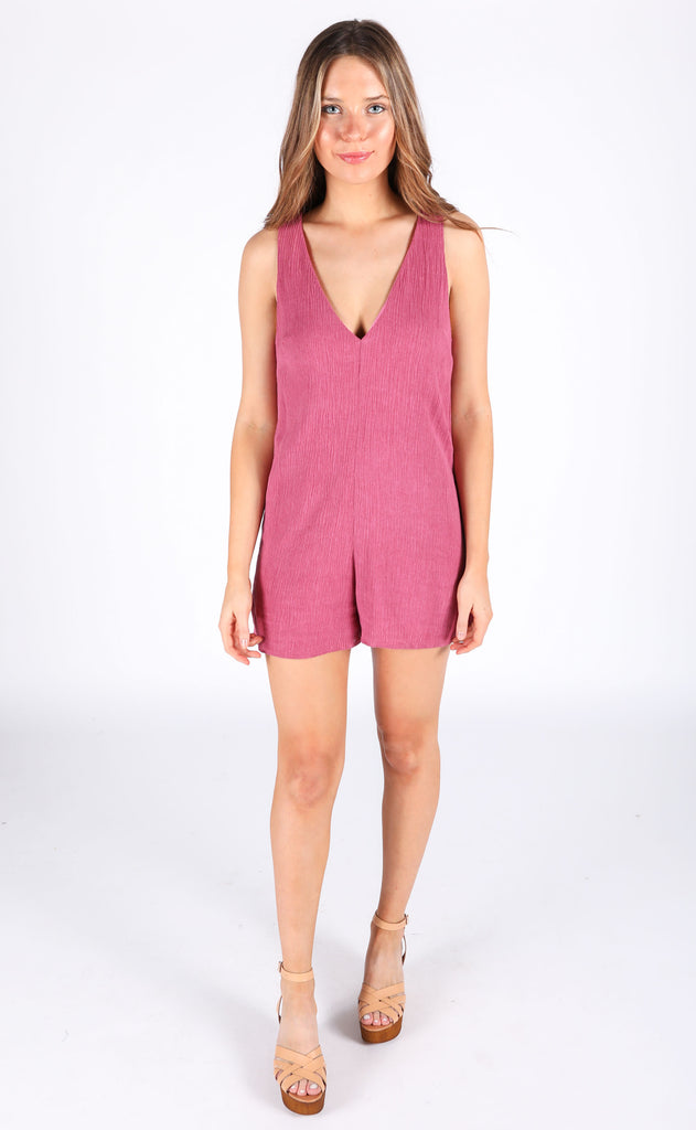 maui mineral washed romper - berry