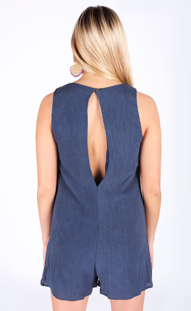 maui mineral washed romper - navy