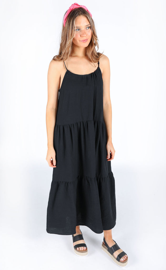 Show Me Your Mumu May Maxi Dress Black Crinkle Gauze