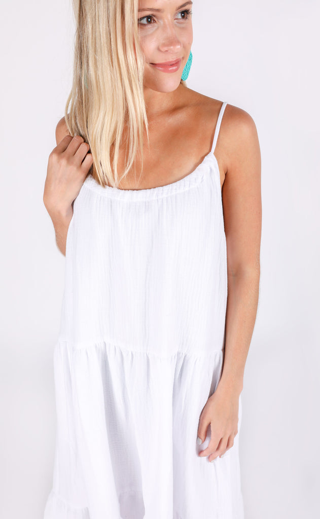 show me your mumu: may maxi dress - white crinkle gauze
