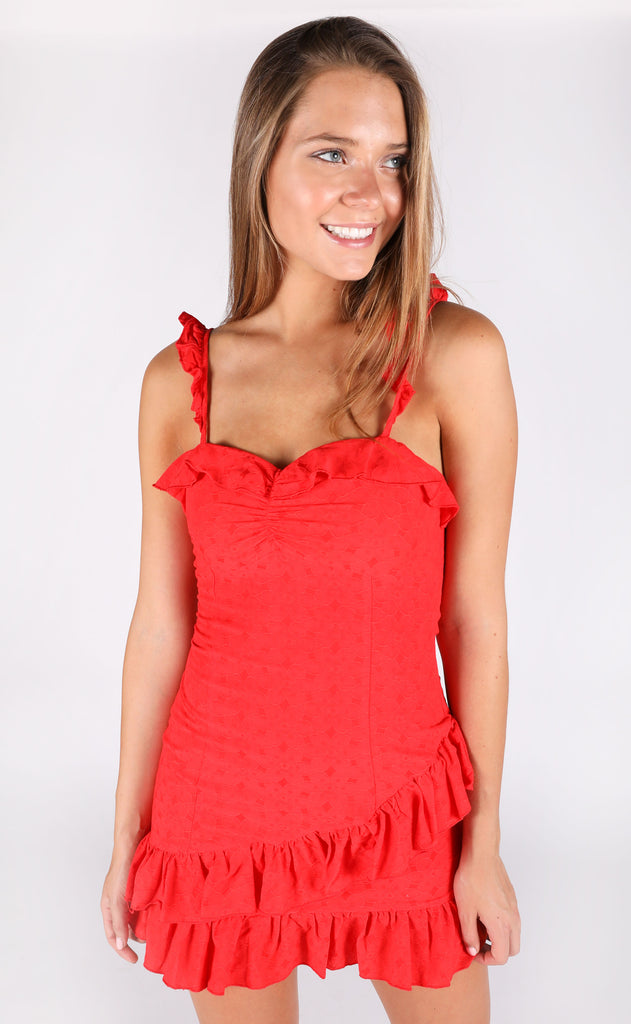 maybe baby ruffle dress - red