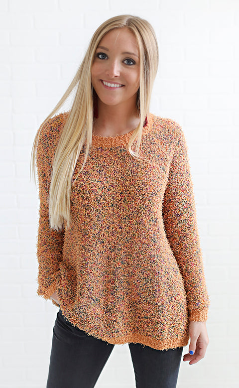 meet me at sunset knit sweater - orange