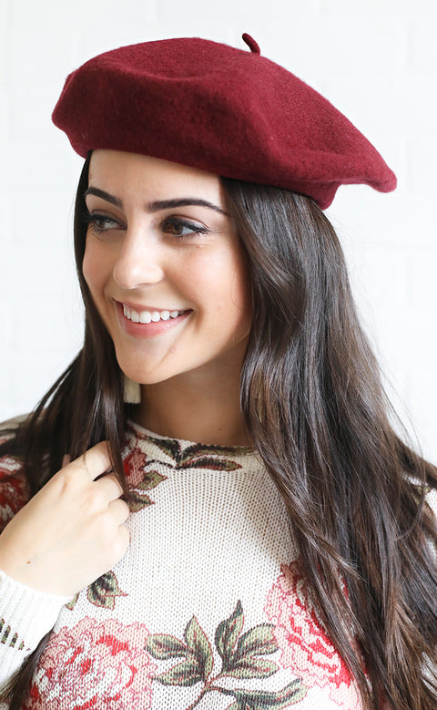 meet me in paris wool beret - burgundy