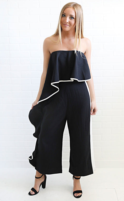 meet your match ruffle jumpsuit