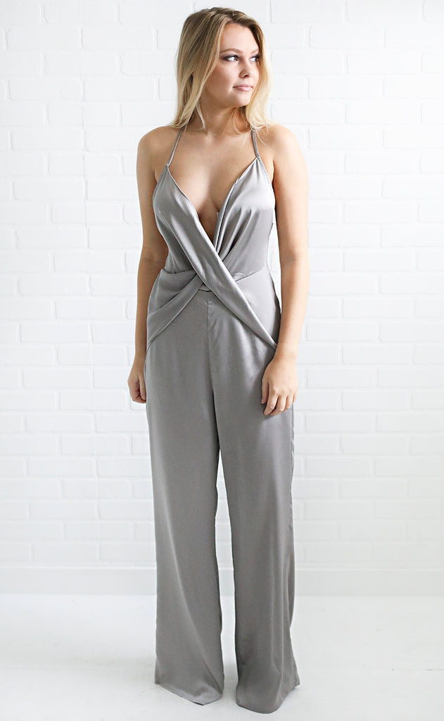 midnight party satin jumpsuit