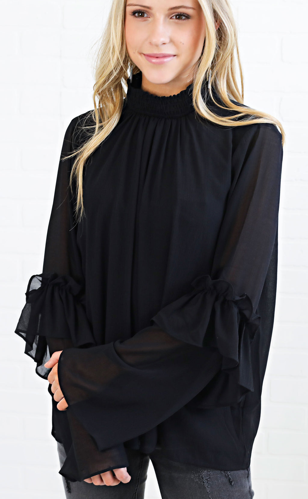 midnight sky ruffle top
