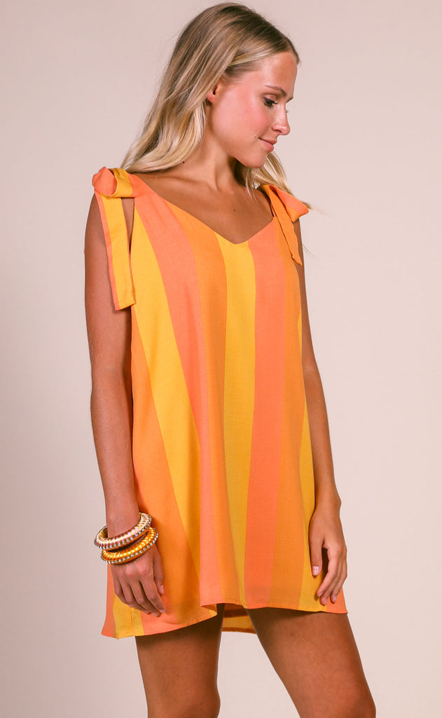 show me your mumu: throw and go tie mini dress - sunkissed stripe