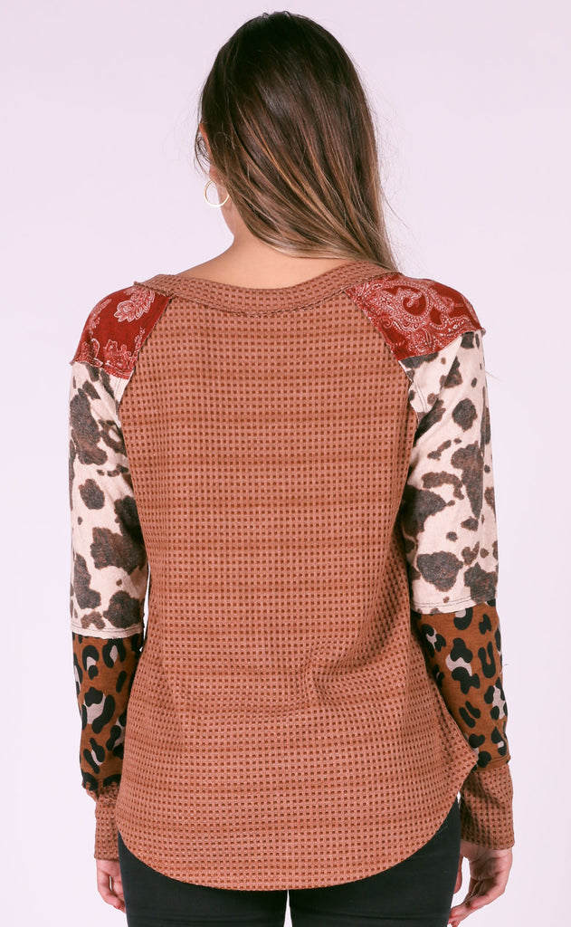 mixed media printed top - rust