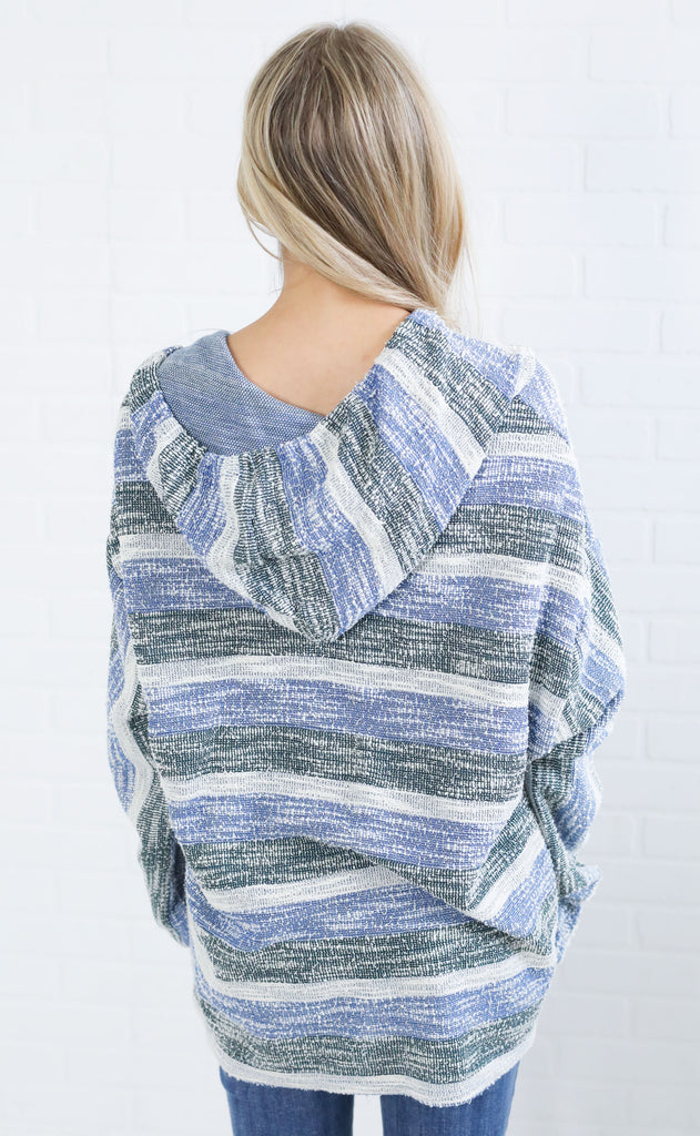 mixed media striped pullover - blue