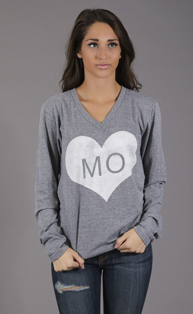 charlie southern: vintage heart long sleeve t shirt - missouri