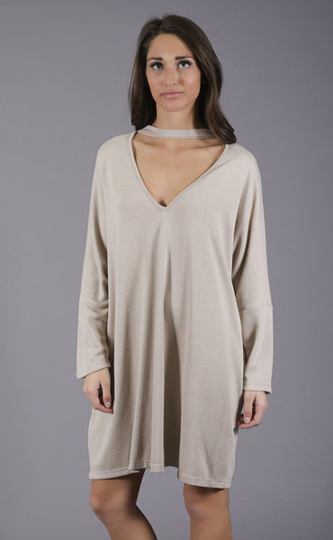 mock the casbah sweater dress - taupe
