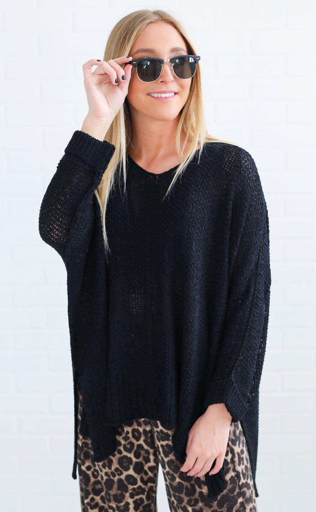 monday to friday knit sweater - black