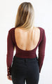 money moves ribbed bodysuit - burgundy