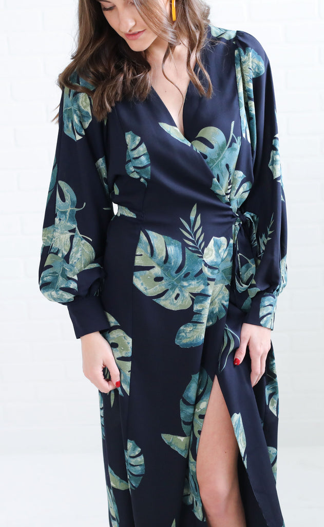 monstera wrap dress
