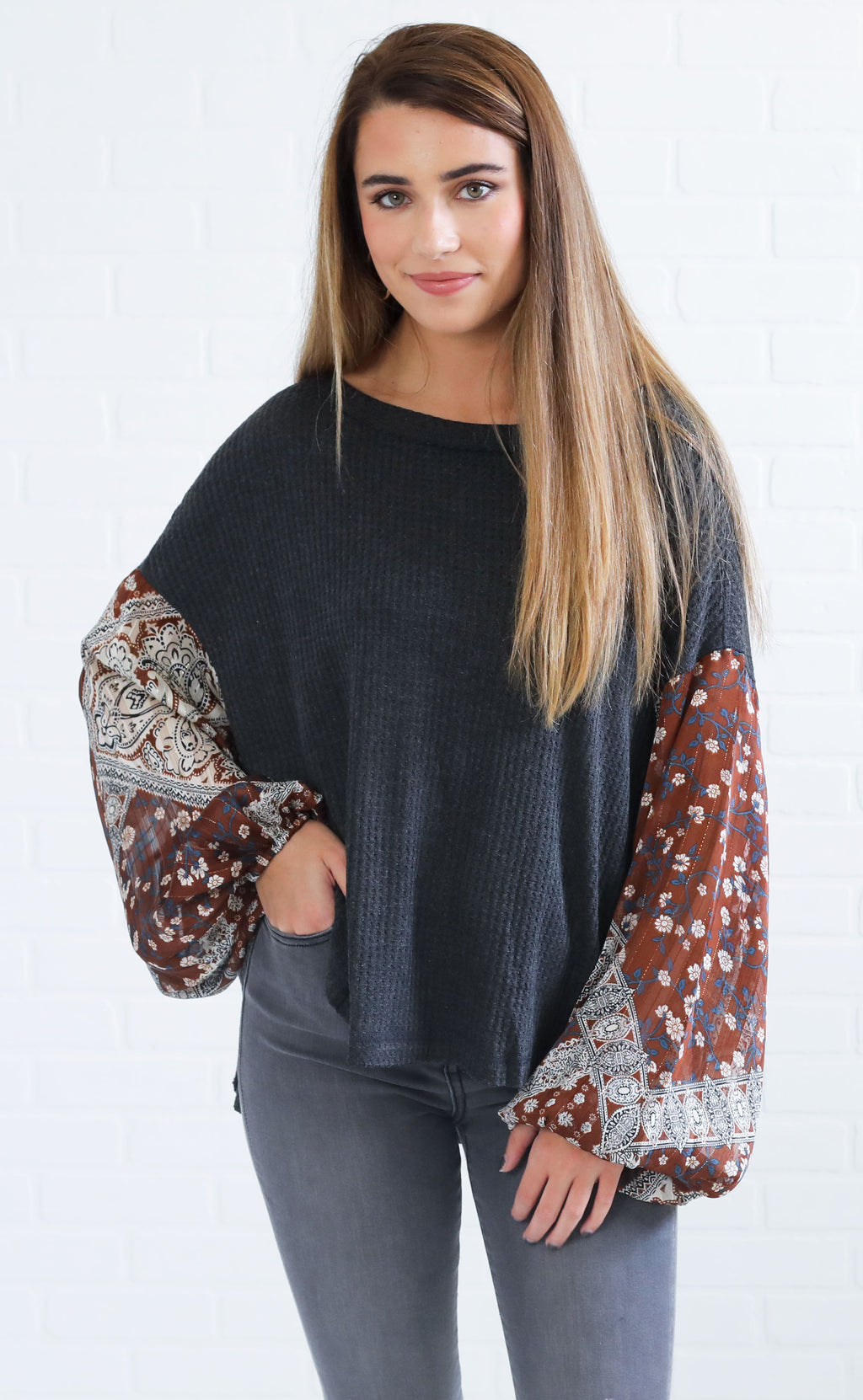 morocco waffle knit top - camel multi