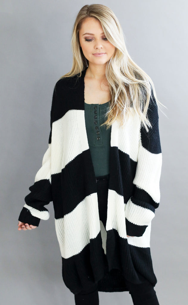mountain peak striped cardigan