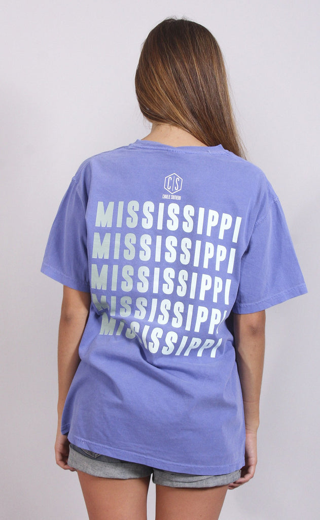 charlie southern: color fade state t shirt - mississippi [mint]