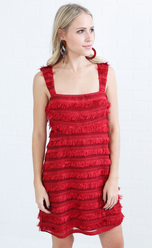 show me your mumu: aria dress - party fringe ruby