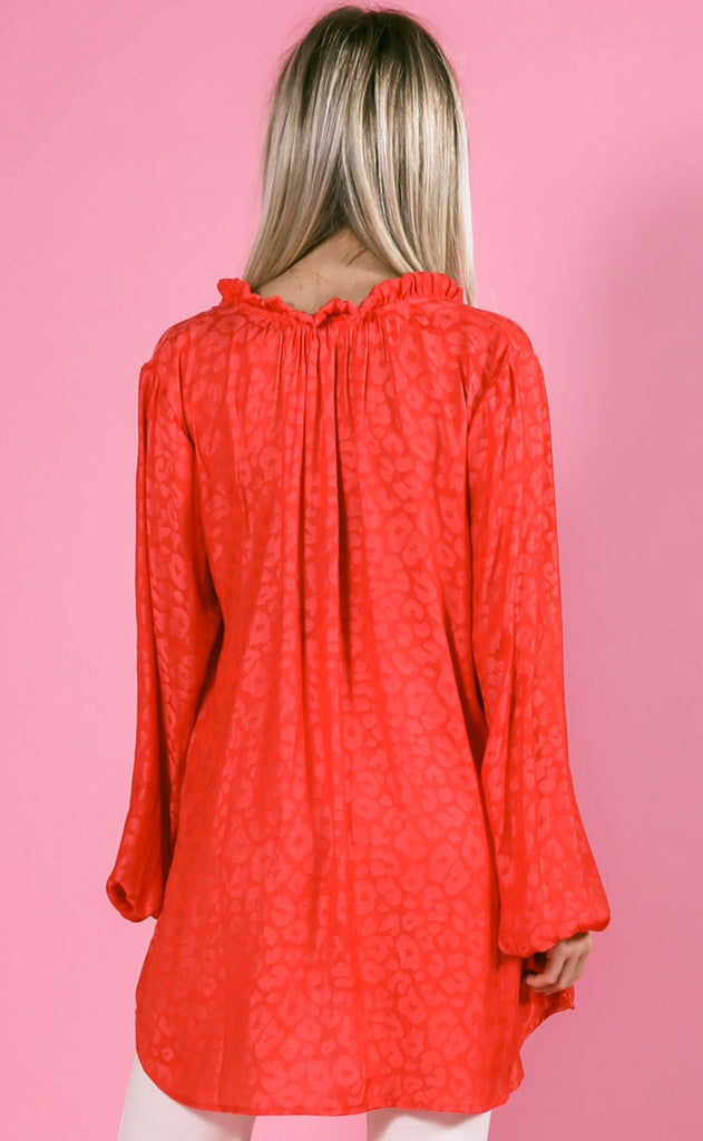 show me your mumu: alicia tunic - red silky cheetah