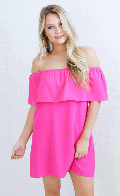 show me your mumu: can can dress - hot pink crinkle stretch