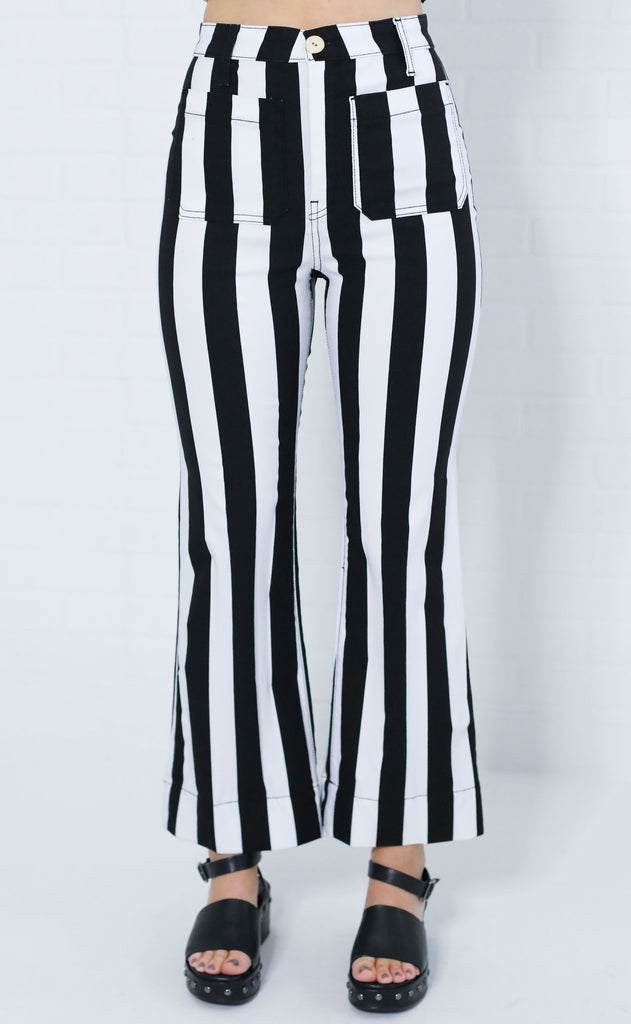 show me your mumu: cropped farrah trouser - chaplin stripe