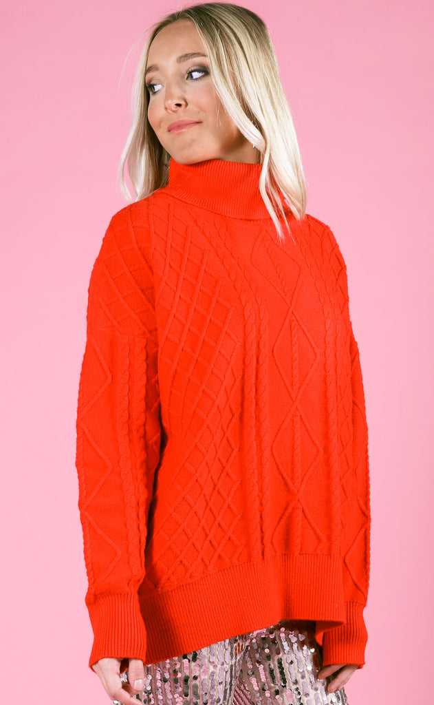 show me your mumu: farren turtleneck sweater - red holly cable knit
