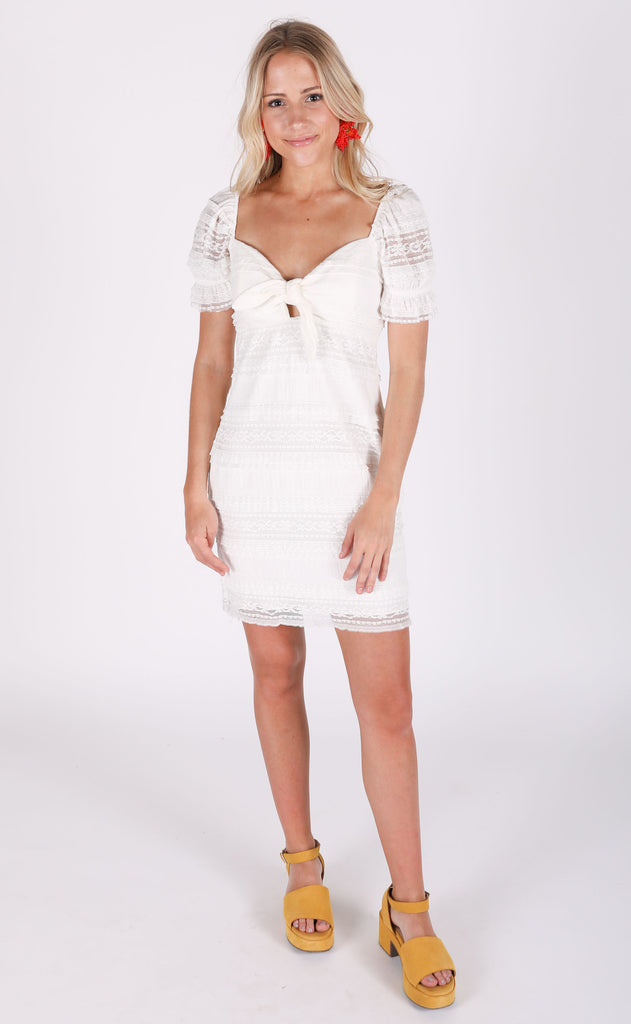 show me your mumu: honey mini dress - vintage ruffle lace cream