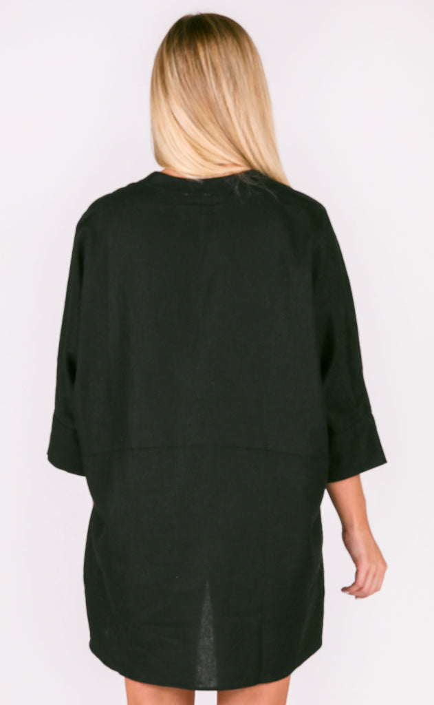 show me your mumu: horton tunic - black linen
