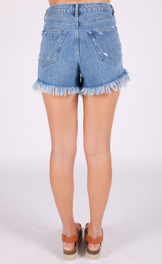 show me your mumu: houston high waisted shorts - tide